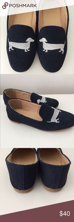 NEW IN BOX CREWCUTS SHOES New inbox, Crewcuts suede loafers with silver dog embroidered detail. J. Crew Shoes