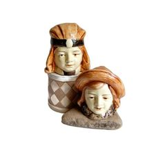 Royal Dux Majolica Bohemian Girls Figurehead Banks Antique Collectibles Home Decor Accessories Czech Art Pottery Gift for Her c1920s