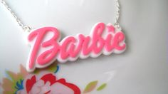 Cute Barbie Logo Statement Word Necklace Pendant by VintageWLove, $8.00