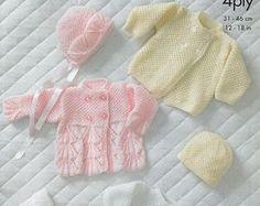 Beautiful Pdf knitting pattern Cardigan and Bonnet and hat