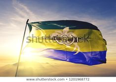 Morobe province of Papua New Guinea flag textile cloth fabric waving on the top sunrise mist fog Papua New Guinea, Outdoor Gear, Mists, Tent, Sunrise, Flag, Waves, Fabric, Tejido