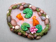 Polymer clay Koi Pond focal pendant by darbella by darbelladesigns, $24.00