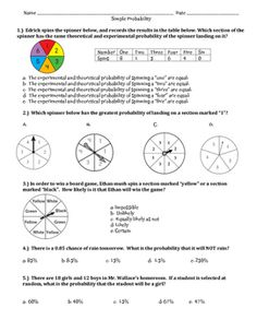 4 pages of multiple choice questions aligned to 7th grade common core standards 7.SP.C.5, 7.SP. C.6, and 7.SP.C.7.  Students will be asked to develop probability models and use them to find the probability of an event, to determine the likelihood of an event happening, to compare experimental and theoretical probabilities, to make predictions based on observed outcomes, and to explain possible discrepancies.