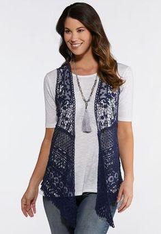 8cfd7125e37ca Cato Fashions Plus Mesh Crochet Vest  CatoFashions
