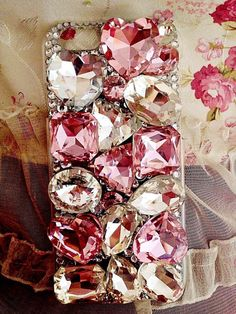 Handmade Bling sparkle diamond crystal pearl Rhinestone iPhone 6 6 plus iPhone 5 5 5c 5 4s case cover new design clear pink