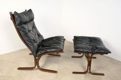 Ingar Relling siesta chair and ottman like the dufted leather...idea for teak lounge recover