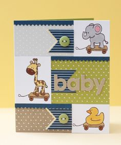 I love how the animals have the pull-along wheels under them... instantly tansforming them into baby toys... great idea.      Erin: Great Impressions Stamps | Pull Toys