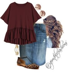 I like that the top looks like it would be comfortable but it makes the outfit more than just casual. Cute shoes but I can't do this flat. Modest Casual Outfits, Modest Wear, Modest Dresses, Modest Clothing, Casual Church Outfits, Summer Outfits, Women's Clothing, Jean Skirt Outfits, Jean Skirts