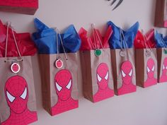 Gift bag idea for spiderman party. Haha my little boy would love this:)-OTGift bag idea for spiderman party. Haha my little boy would love this:)-OT Spider Man Party, Superhero Birthday Party, 4th Birthday Parties, Spiderman Birthday Ideas, Spiderman Theme Party, Men Birthday, Party Bags, Party Favors, Party Time