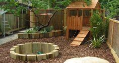 The Best Backyard Playground Ideas For Kids. Some great nature inspired play spaces here to get kids inspired to play outside more at home natural playground ideas Kids Backyard Playground, Backyard For Kids, Playground Ideas, Garden Ideas Children, Garden Ideas Kids, Modern Backyard, Kid Garden, Small Garden Ideas With Bark, Small Garden Play Area Ideas
