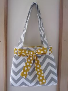 Chevron Shoulder Pleated Handbag, Purse Ipad Netbook Tote  in Gray and White Made in USA - pinned by pin4etsy.com