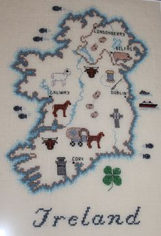 Counted Cross Stitch Map of Ireland (Hangs in the dining room.)