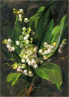 ❀ Blooming Brushwork ❀ - garden and still life flower paintings - Anne Cotterill | Lily of the Valley