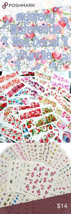 Myster Nail Decal Bundle Receive 5 sheets of random designed waterslide nail decals for the price of three!   You can leave color and design preferences in the comments and I will try to accommodate them in your order.   Check out out my closet to pick to specific designs. Diamonds & Jules Makeup