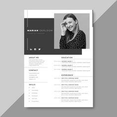 Modern Cv Template, Cv Resume Template, Resume Design Template, Creative Resume Templates, Business Templates, Curriculum Vitae Online, Curriculum Vitae Template Free, Conception Cv, Web Minimalista