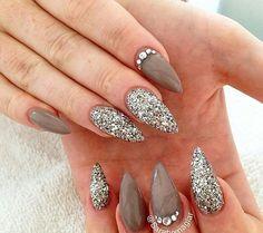 Stiletto, taupe, glitter, zilver