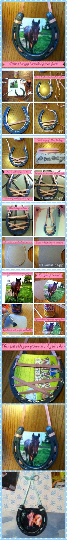 Make a cute and simple hanging horseshoe picture frame...I know someone who would like this! #HorseShoeCrafts