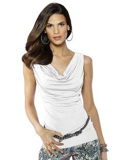 Shirt mit femininem Wasserfallausschnitt und modisch ohne Arm. Figurbetonte Form, Länge in Gr. 38 ca. 60 cm. Obermaterial: 95% Viskose, 5% Elasthan, waschbar...