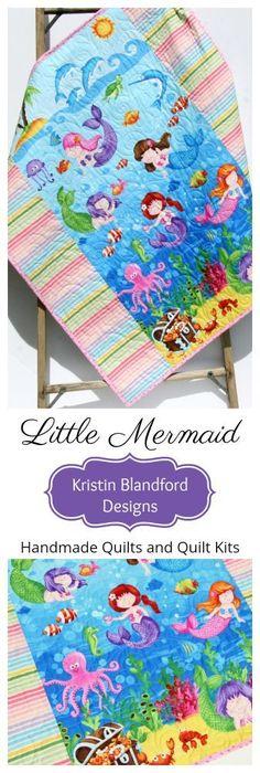Little Mermaids Baby Quilt, Handmade Baby Blanket, Nursery Bedding, Crib Quilt f. Little Mermaids Handmade Baby Blankets, Handmade Baby Quilts, Baby Girl Blankets, Baby Crib Diy, Baby Girl Nursery Decor, Nursery Bedding, Baby Bedding, Mermaid Quilt, Mermaid Blanket