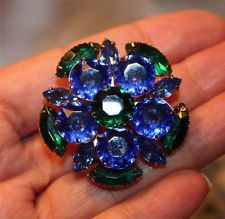 Vtg Brilliant Blue & Green Rhinestone Brooch- Unsigned Beauty
