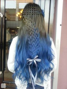 blue ombre long hair with bow ribbon
