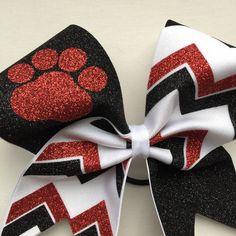 Glitter chevron paw print cheer bow. by BragAboutItCheerBows