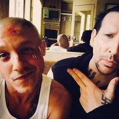 @Theorossi: Behind the scenes of #JustLetMeFinishMyPie with @marilynmanson Funny, that was probably the least uncomfortable scene we did together all season. #SOAFX #LoyalToTheEnd