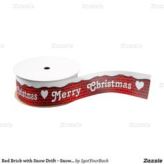 - #iLoveXmas at #Zazzle #Christmas Red Brick with Snow Drift - Snowy Top Grosgrain Ribbon  #gravityx9 designs