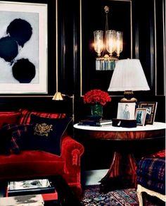 New Home Library Black Ralph Lauren 69 Ideas Good Living Room Colors, Living Room Decor, Living Rooms, Home Interior, Interior Design, Scandinavian Interior, Black Rooms, Black And Red Living Room, Dark Interiors