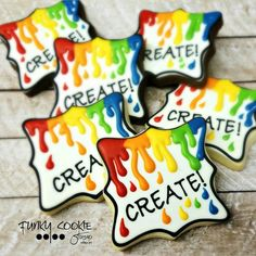 Create in full color! Fancy Cookies, Iced Cookies, Cute Cookies, Royal Icing Cookies, Sugar Cookies, Cupcakes, Cupcake Cookies, Foundant, Paint Cookies