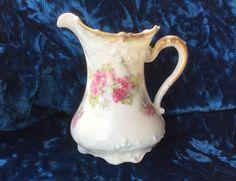 Large Milk jug Porcelain Limoges France 19th bouquet of flowers, Pink and white de la boutique VintagedeFrance sur Etsy