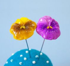 Set of 2 Pansies Sewing Pin Topper  Yellow Violet by yifatiii, $11.25