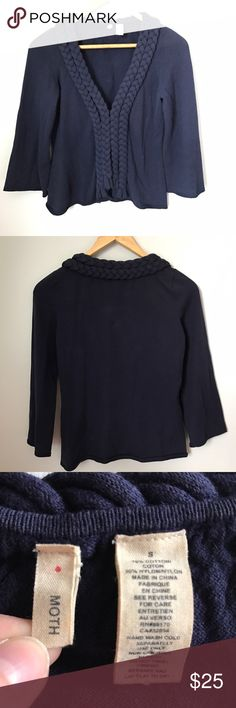 """Moth Anthropologie cardigan Navy Moth cardigan from Anthropologie. Open front with hook & eye closure. Braided detail down front. 3/4 sleeves. Size small. Measures 20"""" long. Color is NOT faded like last 2 photos. Sorry, no trades & I am unable to model. Anthropologie Sweaters Cardigans"""
