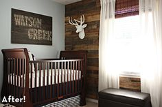 Absolutely adore this nursery. Need planked walls and a deer head in my house somewhere!