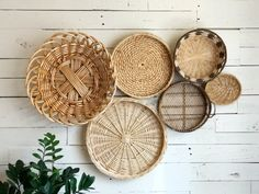 Collection of 6 Vintage Wicker Wall Basket set Modern Wall Basket, Wooden Basket, Baskets On Wall, Bohemian Wall Decor, Modern Wall Decor, Dining Room Wall Decor, Home Decor Bedroom, Rattan, Wicker