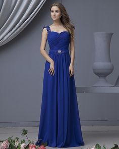 Sweetheart Floor Length Chiffon Beading Pleated Evening Dress With Beaded Straps  Read More:     http://www.weddingscasual.com/index.php?r=sweetheart-floor-length-chiffon-beading-pleated-evening-dress-with-beaded-straps.html