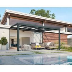 Palram Feria 10 ft. x 28 ft. White Patio Cover Awning-702727 - The Home Depot Polycarbonate Roof Panels, Outdoor Dining, Outdoor Decor, Outdoor Seating, Outdoor Spaces, Retractable Shade, Sliding Panels, Roofing Systems, Beautiful Space