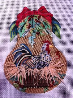 Kelly Clark 12 Days of Christmas pear stitched by HUGS AND STITCHES