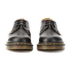 Dr. Martens Originals 1461 3-Eye Smooth Leather Gibson Shoes - Black ($110) ❤ liked on Polyvore featuring shoes, fleece-lined shoes, black mid heel shoes, welted shoes, mid-heel shoes and dr martens footwear
