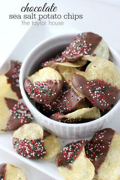 Delicious Super BowlParty Treat Idea: Chocolate Sea Salt Potato Chips using Kettle Brand Chips!