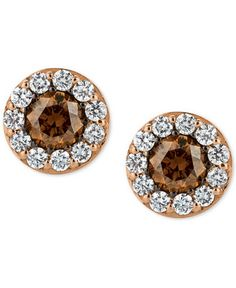 Chocolatier Diamond Stud Earrings 3 4 Ct T W In 14k Rose Gold