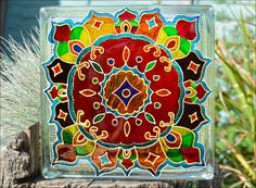 RANGOLI Glass Block! / HAND PAINTED Diwali Lantern! / Night Light & Sun Catcher / Recycled Glass Block / Garden Ornament / Glass Painting
