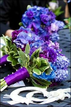 bouquets with blue and purple