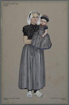 Zd. Beveland protestant, ca. 1880. Vrouw in lichte rouw, daags. Meisje uit de rouw, daags.