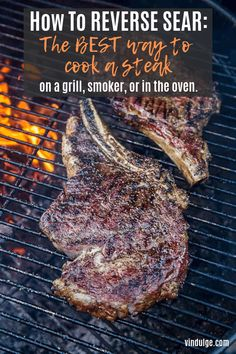 Reverse Sear Method - The Best Way to Cook a Steak! - Vindulge Reverse Sear Method is the best way to cook a steak. This detailed guide will walk you through the method (on the grill, smoker, or in the oven) and includes our favorite reverse sear recipes. Traeger Recipes, Grilling Recipes, Beef Recipes, Cooking Recipes, Grilling Ideas, Smoker Recipes, Vegetarian Grilling, Healthy Grilling, Barbecue Recipes