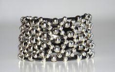 women leather bracelet,original design, Zamak beads bracelet,  uno de 50 style,hand made bracelet by OtroAccesorio on Etsy https://www.etsy.com/listing/221993914/women-leather-braceletoriginal-design