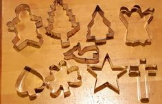 Metal COOKIE CUTTERS Shapes Set of 9 Tree Shamrock Gingerbread Ghost Star Cross #Unbranded