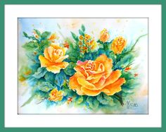 Yellow Rose Watercolor by MarthaKislingArt