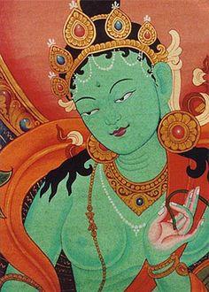 Green Tara - Bodhisattva, in Mahayana Buddhism, of enlightened activity. A protector or guardian Bodhisattva. Buddha Kunst, Buddha Art, Divine Mother, Mother Goddess, Tara Goddess, Green Goddess, Buddha Buddhism, Tibetan Buddhism, Mahayana Buddhism
