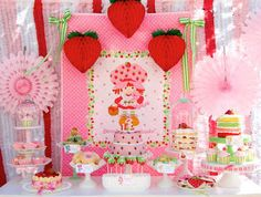 This vintage Strawberry Shortcake party is sheer perfection. Strawberry Shortcake her self couldn't have done any better. Strawberry Shortcake Dessert, Vintage Strawberry Shortcake, 3rd Birthday Parties, Girl Birthday, Birthday Ideas, Birthday Bash, Birthday Gifts, Dessert Table Birthday, Dessert Party